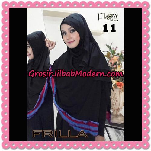 Jilbab Syar'i Cantik Tanpa Pet Syria Frilla Original By Flow Idea No 11 Hitam