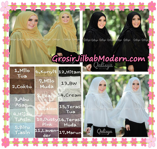 Jilbab Instant Khimar Syar'i Halwa Glitter Non Pet XL Seri 2 Trendy  Original By Qalisya Brand Series