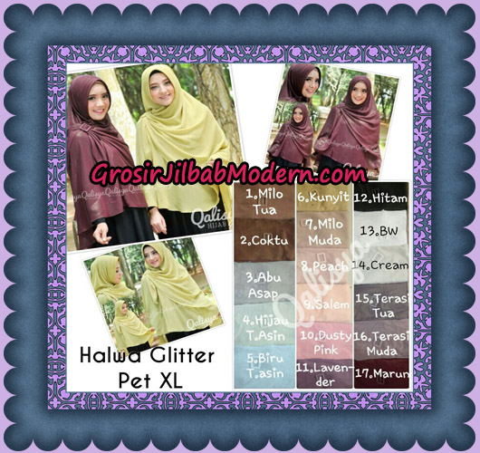 Jilbab Instant Khimar Syar'i Halwa Glitter Pet XL Modis Original By Qalisya Brand Series