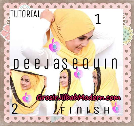 Jilbab Modern Instant Cantik Deeja Sequin Original By Apple Hijab Brand - Cara Pemakaian