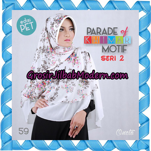 Jilbab Parade Of Khimar Motif Kombinasi Polos Pet Seri 2 Support By Oneto Hijab No 59
