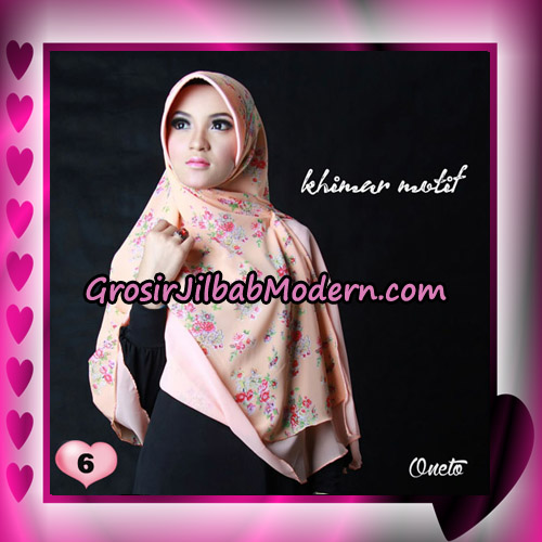 Jilbab Khimar Motif Kombinasi Polos Pet Seri 1 Support By Oneto Hijab No 6