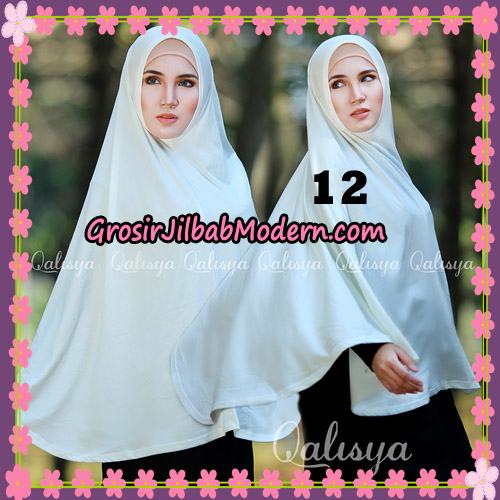 Jilbab Polos Basic Khimar Jersey Jeruk Original by Qalisya Brand No 12 Broken White