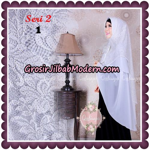 Jilbab Khimar Syari Sabqa Brukat Seri 2 Original By Qalisya Hijab Brand No 1 Putih Tulang