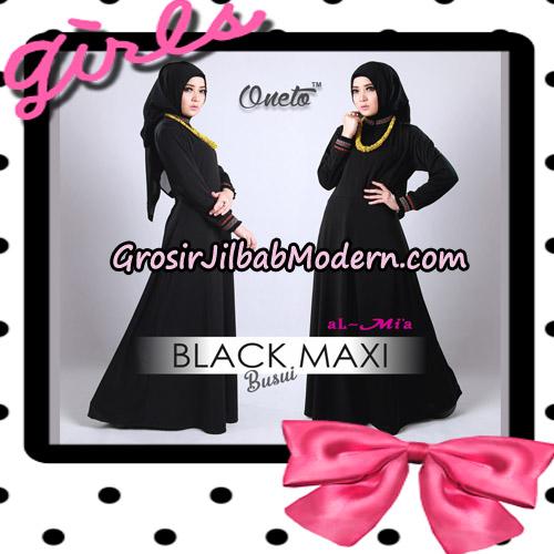 Gamis Black Maxi Busui Original By Almia Brand
