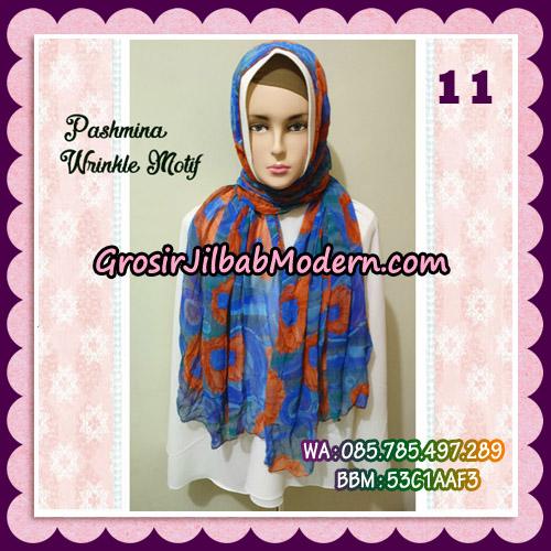 Jilbab Pashmina Bahan Sifone Wrinkle Motif Cantik No 11