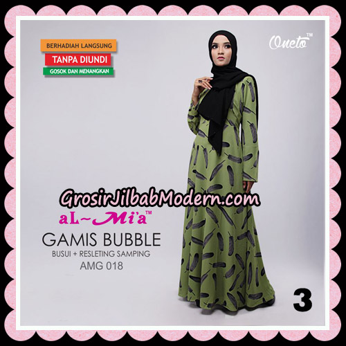 Gamis Bubble Motif Bulu AMG 018 Original By AlMia Brand NO 3