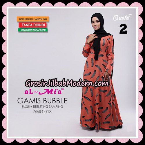 Gamis Bubble Motif Bulu AMG 018 Original By AlMia Brand No 2