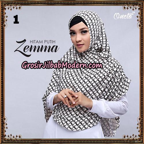Jilbab Instant Cantik Zema Hitam Putih Support Oneto Hijab No 1