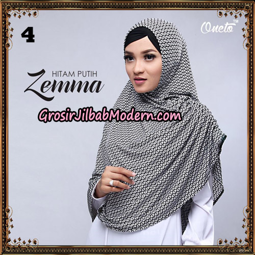 Jilbab Instant Cantik Zema Hitam Putih Support Oneto Hijab No 4