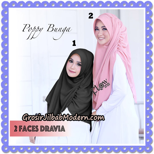 Jilbab Instant 2 Faces Dravia Poppy Bunga Original By Flow Idea Hijab No 1-2
