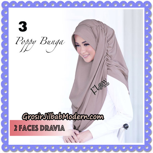 Jilbab Instant 2 Faces Dravia Poppy Bunga Original By Flow Idea Hijab No 3
