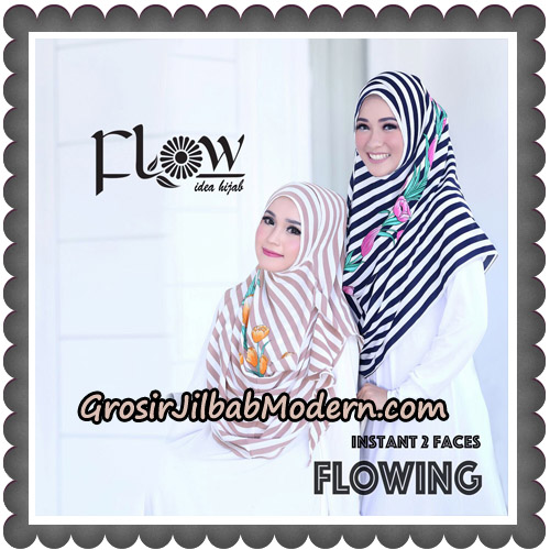 Jilbab Instant 2 Faces Flowing Stripe Original By Flow Idea - Cream, Navy