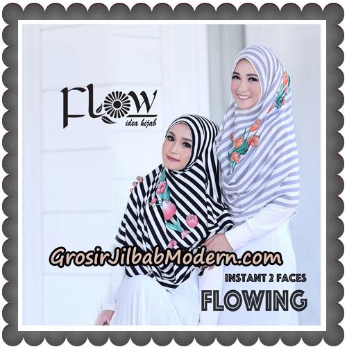 Jilbab Instant 2 Faces Flowing Stripe Original By Flow Idea - Hitam, Abu