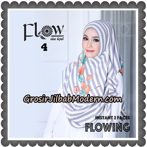 Jilbab Instant 2 Faces Flowing Stripe Original By Flow Idea No 4