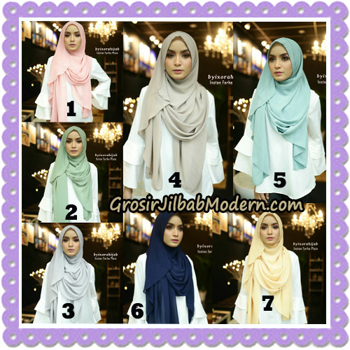 Jilbab Instant Cantik Farha Plain Original by Ixora Hijab Brand