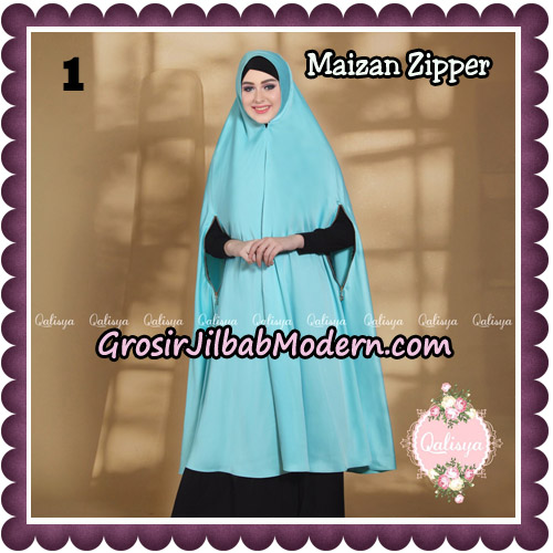 Jilbab Syari Khimar Maizan Zipper Original by Qalisya Hijab Brand No 1