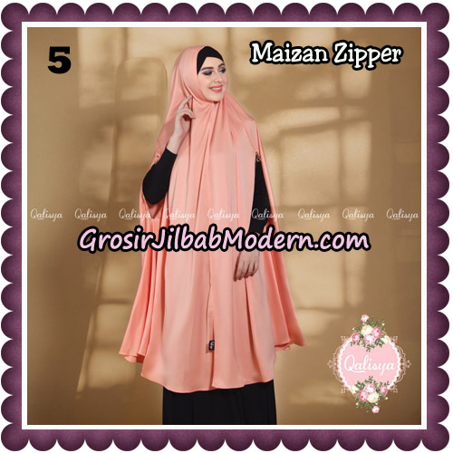 Jilbab Syari Khimar Maizan Zipper Original by Qalisya Hijab Brand No 5