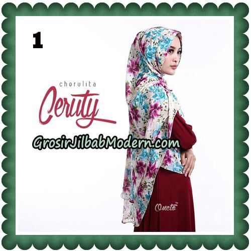Jilbab Instant Cherulita Ceruty Motif Original By Oneto Hijab No 1