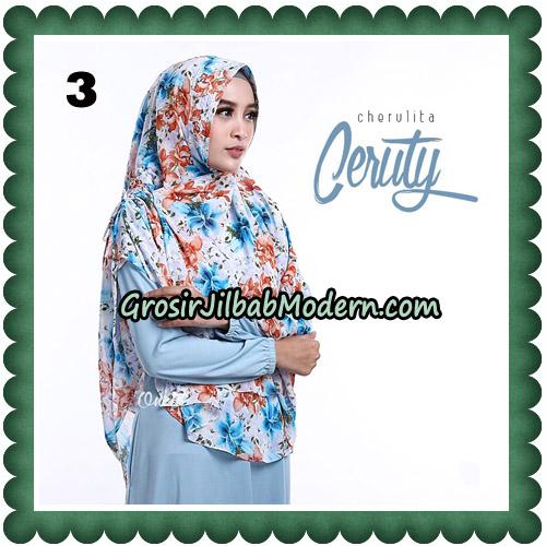 Jilbab Instant Cherulita Ceruty Motif Original By Oneto Hijab No 3