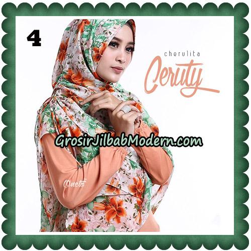 Jilbab Instant Cherulita Ceruty Motif Original By Oneto Hijab No 4