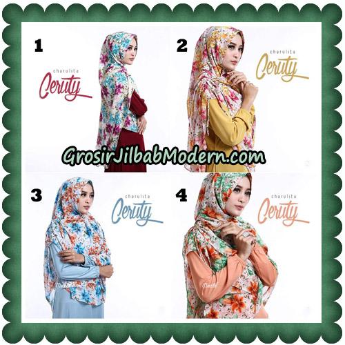 Jilbab Instant Cherulita Ceruty Motif Original By Oneto Hijab