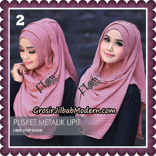 Jilbab Instant Plisket Metalik Lipit Original By Flow Idea Hijab No 2