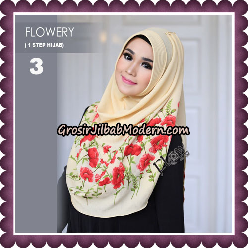 Jilbab Instant 1 Step Hijab Flowery Original By Flow Idea Hijab No 3