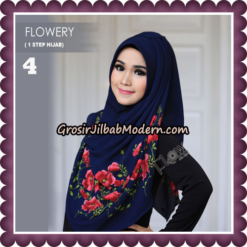 Jilbab Instant 1 Step Hijab Flowery Original By Flow Idea Hijab No 4