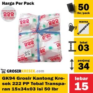 GK94 Grosir Kantong Kresek 222 Tebal Transparan PP 15x34x03 isi 50 lbr