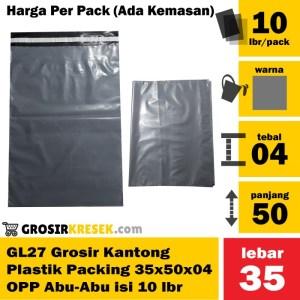 GL27 Kantong Plastik Packing OPP Polymailer 35x50x04 Abu-Abu isi 10Lbr
