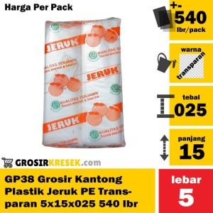GP38 Grosir Kantong Plastik Batu Es Lilin Jeruk PE 5x15x025 540 lbr