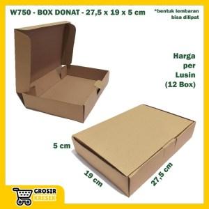 W750 Kardus Box Donat 27,5 x 19 x 5 cm Dus Polos Coklat Die Cut Lusin