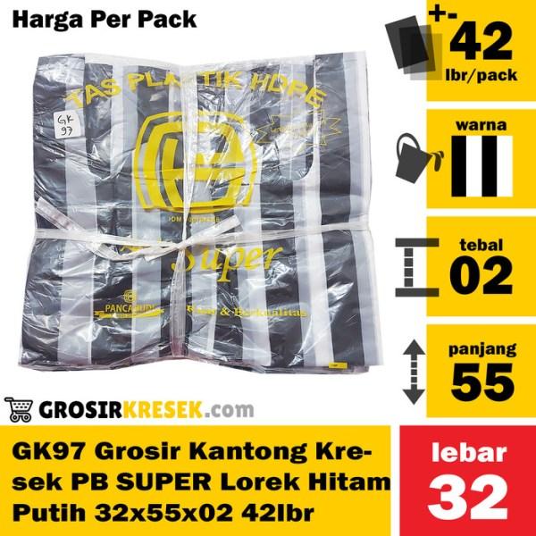 GK97 Grosir Kantong Kresek SUPER Lorek PB Hitam Putih 32x55x02 42 lbr