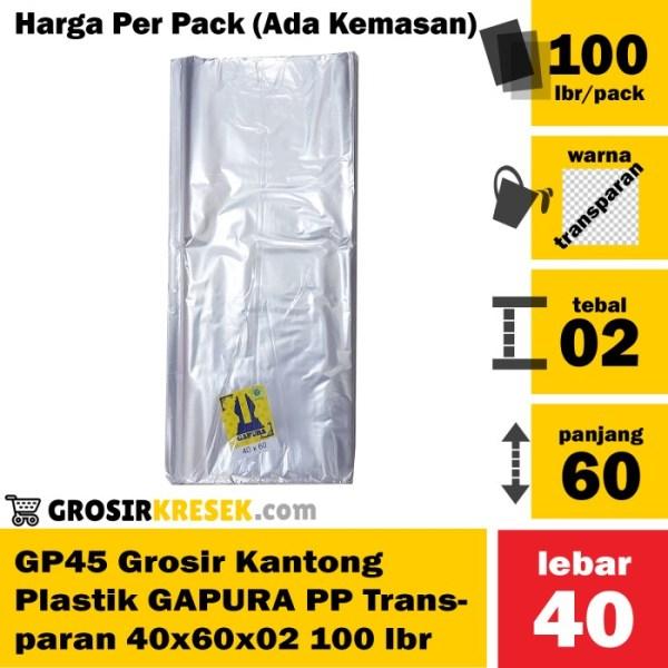 GP45 Grosir Kantong Plastik GAPURA PP Transparan 40x60x02 100 lembar