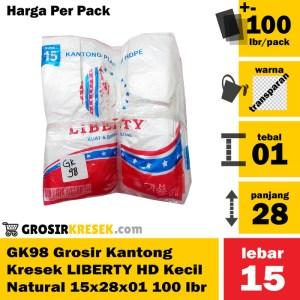 GK98 Grosir Kantong Kresek LIBERTY Kecil HD Natural 15x28x01 100 lbr