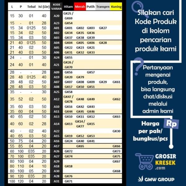 GL07 Grosir Kantong Kresek SEMANGKA Lorek Hitam Putih 15x30x01 38 lbr