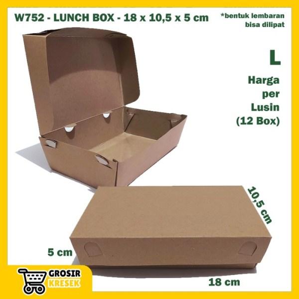 W752 Kardus Lunch Box L 18 x 10,5 x 5 cm Dus Polos Karton Diecut Lusin