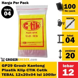 GP29 Grosir Kantong Plastik Klip Cetik CTIK TEBAL 12x20x04 isi 100 lbr