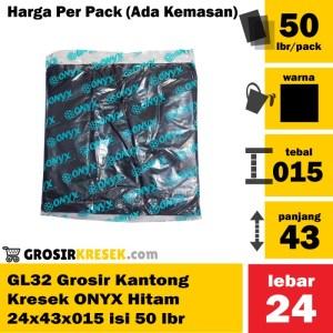 GL32 Grosir Kantong Kresek ONYX Hitam 24x43x015 Pack Murah isi 50 lbr