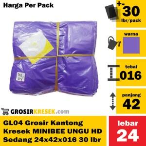 GL04 Grosir Kantong Kresek MINIBEE UNGU Sedang HD 24x42x016 isi 30 lbr