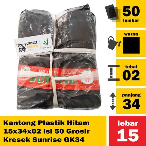 Kantong Plastik Hitam 15x34x02 isi 50 Grosir Kresek Sunrise GK34