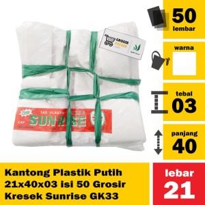 Kantong Plastik Putih 21x40x03 isi 50 Grosir Kresek Sunrise GK33