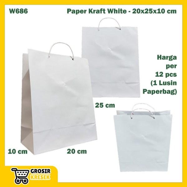 W686 Paperbag Paper Kraft Putih Polos Goodiebag 20x25x10cm Tas Kertas