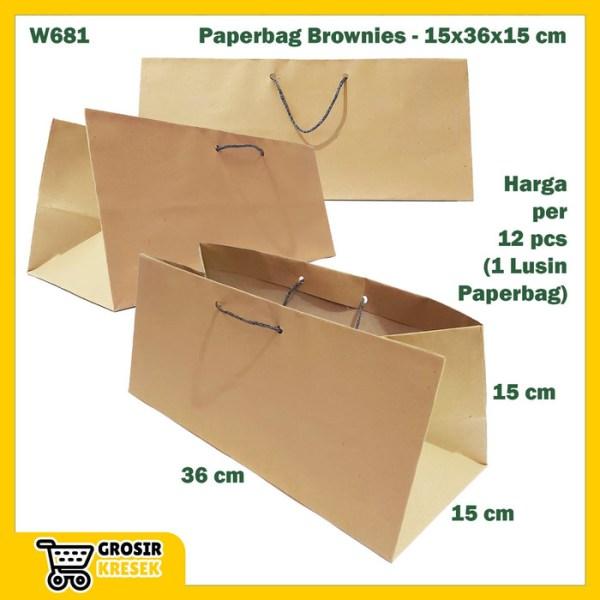 W681 Paperbag Coklat Polos Goodiebag Tempat Kotak Brownies 15x36x15cm