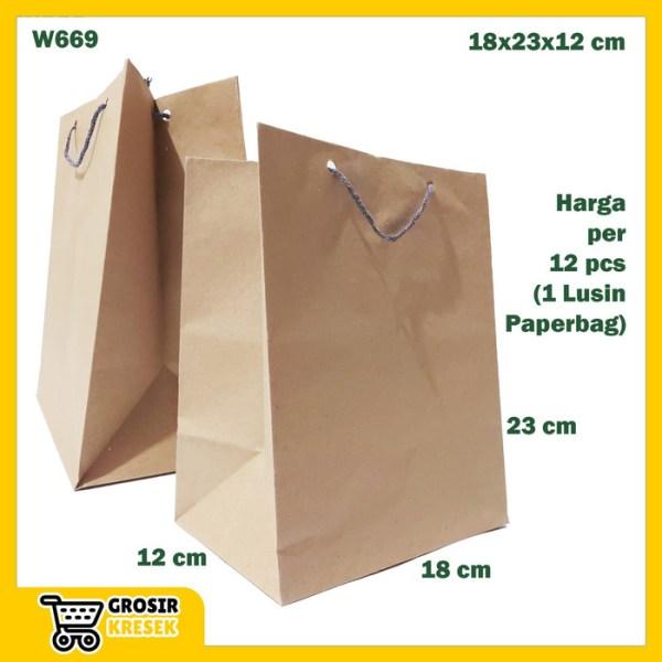 W669 Paperbag Souvenir Warna Coklat Goodie Bag Polos Simpel 18x23x12cm
