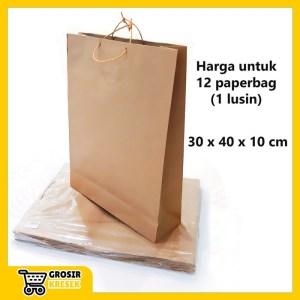 W549 Goodie Bag Polos Coklat Paperbag Souvenir Tas Kertas 30x40x10 cm