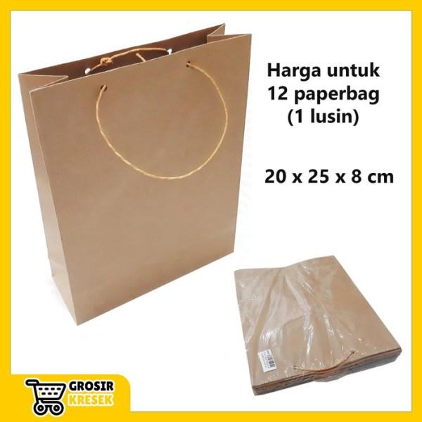 W547 Paperbag Polos Coklat Souvenir Goodie Bag Tas Kertas 20x25x8 cm