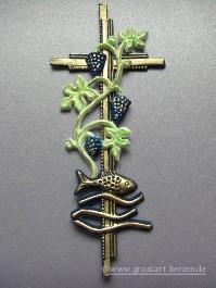 GrossartKerzende  Verzierwachs Kommunion Kreuz mit