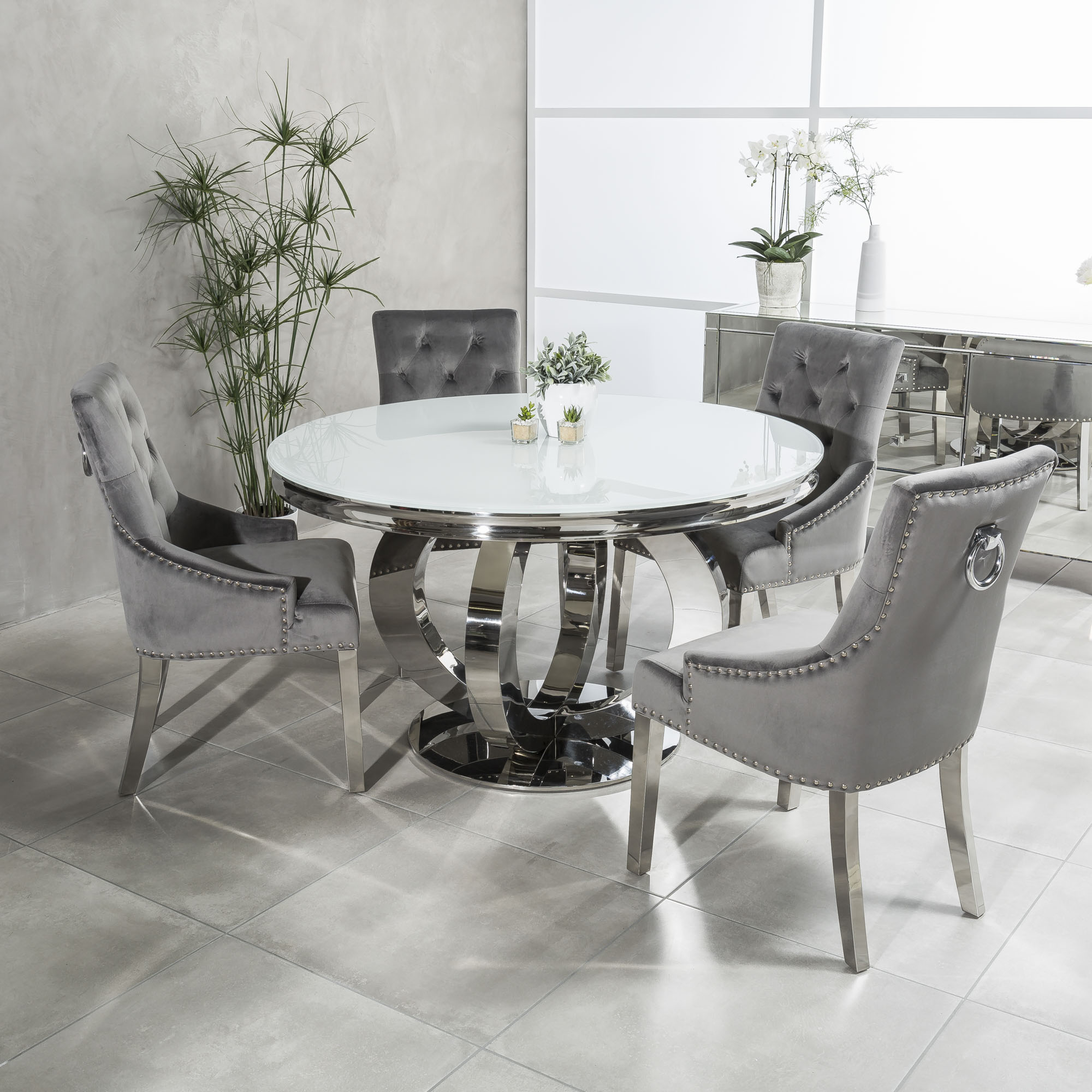 1 3m Circular Polished Steel White Glass Dining Table Set With 4 Grey Brushed Velvet Dining Chairs Grosvenor Furniture